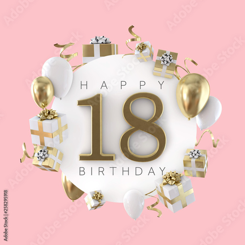 Happy 18th Birthday Party Composition With Balloons And Presents 3D Render