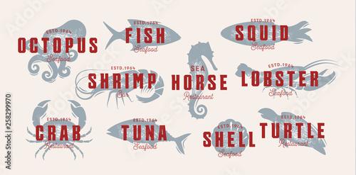Seafood vintage logo set  Sea creatures, fishing or restaurant