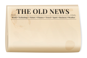 Vintage newspaper template. Folded cover page of a news magazine.