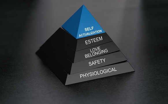 Psychology concept. Self-actualization and pyramid of needs