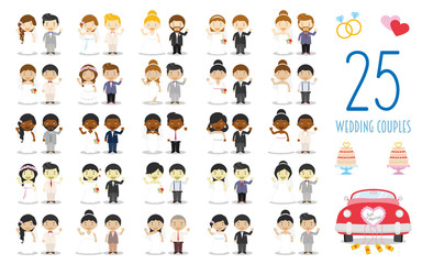 Set of 25 wedding couples and nuptial icons in cartoon style