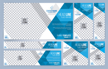 Blue and White Web banners templates, standard sizes with space for photo, modern design Wall mural