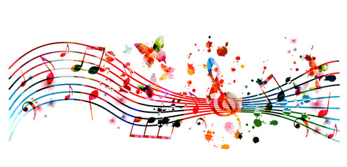 Music background with colorful music notes vector illustration design. Artistic music festival poster, live concert events, party flyer, music notes signs and symbols Fotobehang