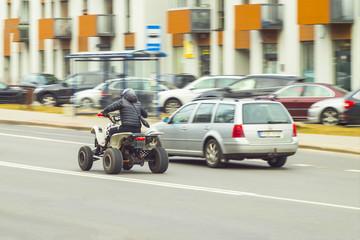 quad bike in city route speed