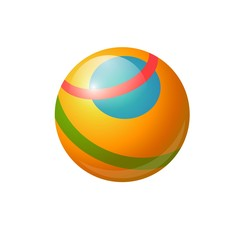 Rubber ball for children - modern vector realistic isolated object