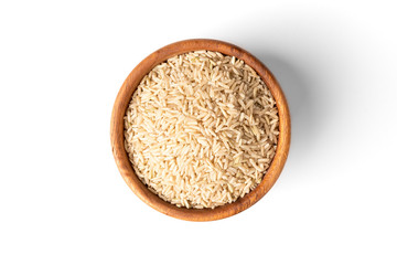 Brown rice isolated on white background.
