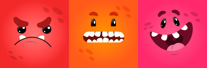 Vector funny square monster faces with different emotions, smiles, emoticon set for messenger, sticker, social media, animation, comic, newsletter, poster, banner, logo, icon, avatar. For April 1