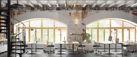 Office in old vintage brick Loft apartment 3d rendering
