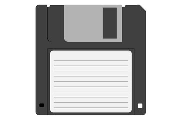 Retro diskette. Floppy disk for computer data storage. Old technology device. Illustration on a white background