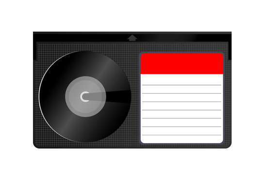 Betamax. Video Cassette Tape. Cassette format of magnetic tape for video. Old technology. illustration