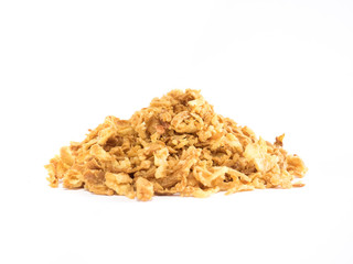 Crunchy fried onion mountain on white background