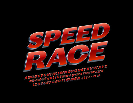 Vector modern emblem Speed Race with Red and Silver Alphabet. Chrome Letters, Numbers and Symbols. Metallic 3D Font