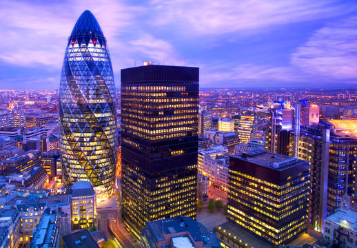 Elevated view of the financial district of London at duskLondon, England., London, England.