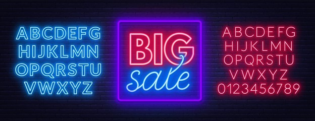 Fototapete - Big sale neon sign on brick wall background. Neon fonts. Vector illustration