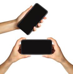 Set of women's hands showing black smartphone, concept of taking photo or selfie