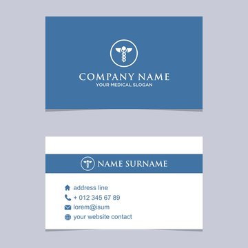 Blue and White Medical, healthcare, business card template vector
