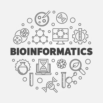 Bioinformatics vector round concept illustration in thin line style