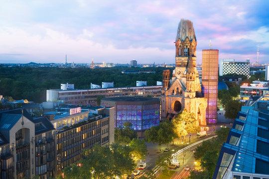 Elevated view of Kaiser Wilhelm Memorial Church at dusk, Berlin, Germany.