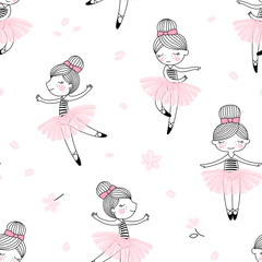 Fototapeta Cute dancing ballerina girls pattern. Ballet themed seamless background. Simple cute girlish surface design. Perfect for girl fashion fabric textile, scrap booking, wrapping gift paper. obraz