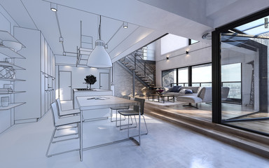 Design mockup in white and color of luxury house