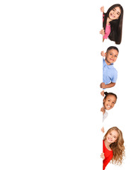 Kids peeking out from empty board isolated on white