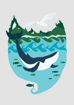 Whale in the sea with mountains