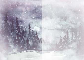Watercolor painting, illustration, greeting card. fog Forest, suburban landscape, silhouettes of fir trees, pines, trees and bushes, the night sky with stars. Black, white color, monochrome.