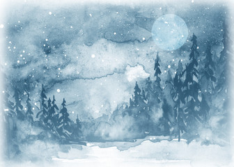 Watercolor painting, illustration, greeting card. Forest, suburban landscape, silhouettes of fir trees, pines, trees and bushes, the night sky with stars, moon. Blue, Gray color.