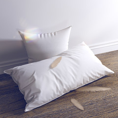 3d render White pillows and feathers are on the wooden floor.