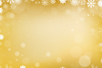 Abstract Winter Background with Variable Snowflakes and Gold Background Color