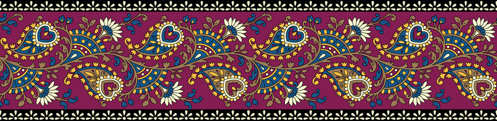 traditional paisley colorful border