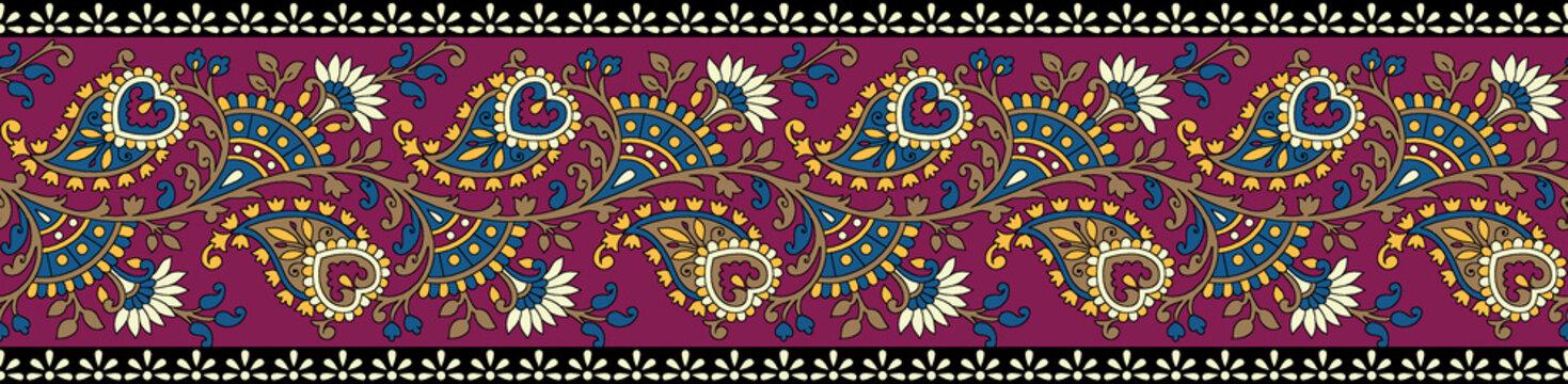 traditional paisley colorful border