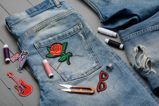 Sewing embroidered patch to denim