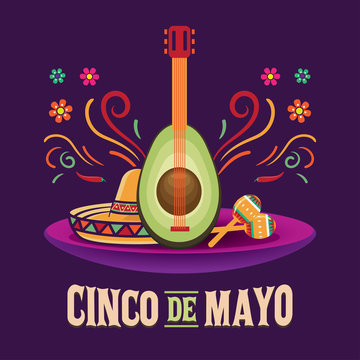 Cinco de Mayo vector illustration, May 5. Traditional mexican celebration federal holiday, suitable for web banner, poster, greeting card, invitation.