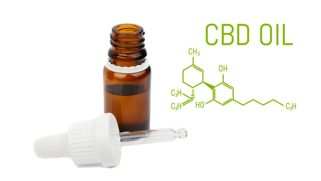 CBD oil dropper bottle, live cannabis resin extraction, isolated on white background -close-up of medical marijuana concept