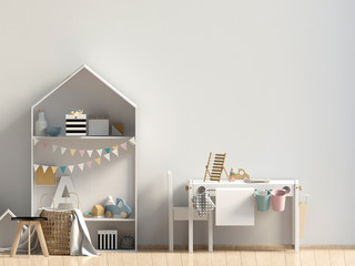 Pastel child's room. playroom. modern style. 3d illustration. Wall mock up