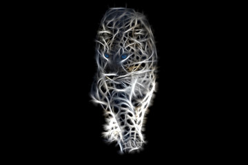 Türaufkleber Panther Fractal image of a walking wild leopard with blue eyes on a contrasting black background