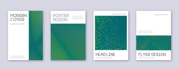 Minimal brochure design template set. Green abstra Wall mural