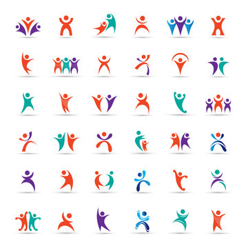 Abstract Logo Set. Human Character Figure Isolated On Gray Background. Icons Of Success, Celebration, Achievement And Activity. Vector Illustration Of People Logo, Graphic Design