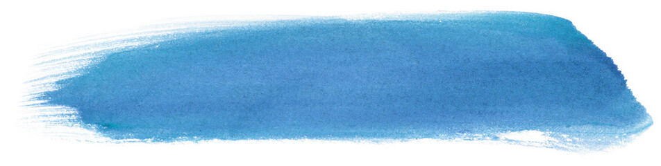 inked watercolor strip on paper blue