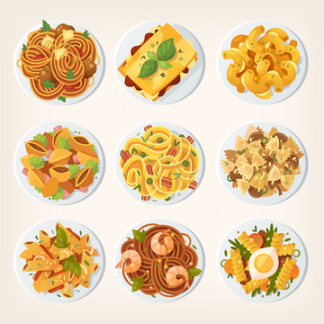 Set of many different kinds of pasta dishes from top. Vector illustrations view from above.