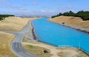Hydro electric water canal, Pukaki, New Zealand