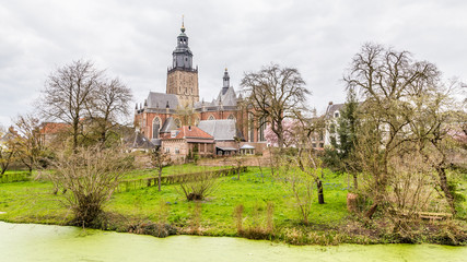 Cityscape of Zutphen with Saint Walburgis church, a medieval city along the river IJssel in Gelderland in the Netherlands