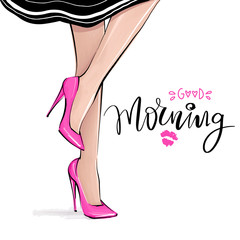 Vector girl in high heels. Fashion illustration. Female legs in shoes.