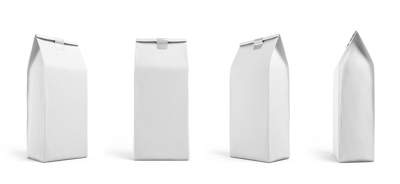 White paper bag packaging template