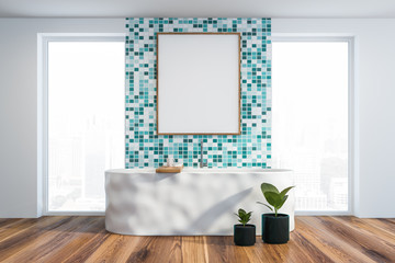 Modern light bathroom interior. Mock up poster.