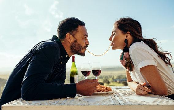 Romantic couple having fun on a date