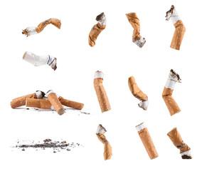 Fototapeta Dirty cigarette buds isolated set