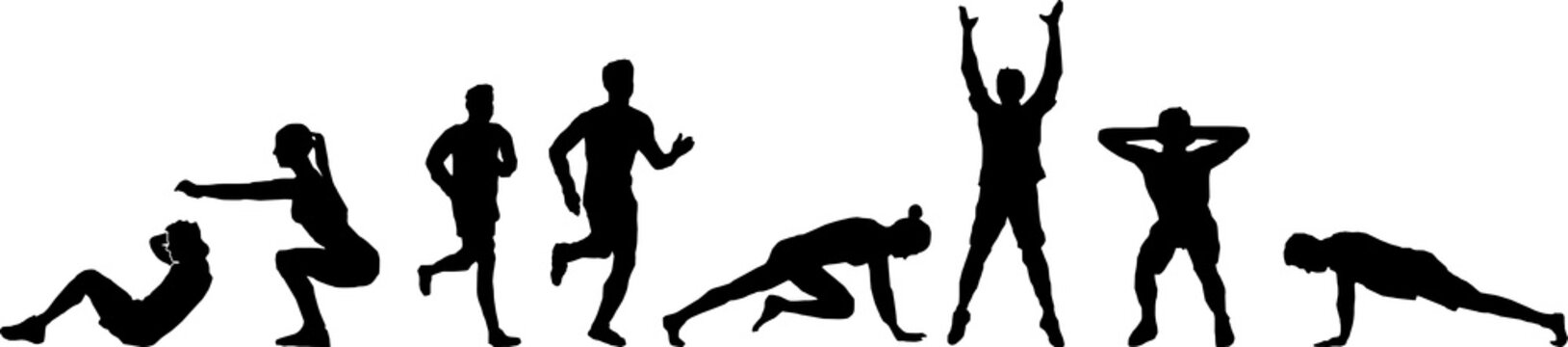 People Fitness Workout Silhoutte