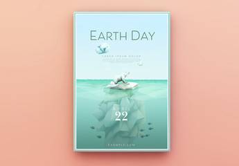 Earth Day Poster Layout with Polar Bear and Iceberg Illustration